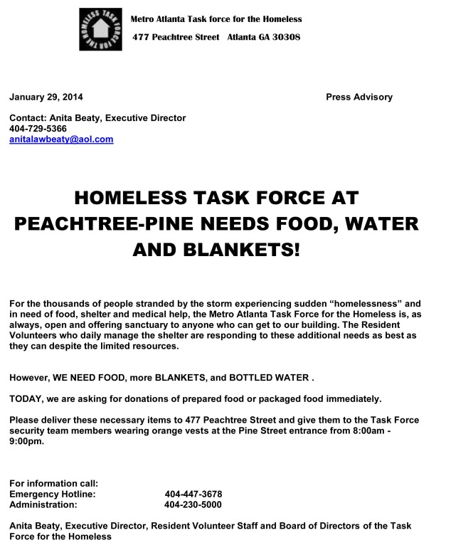 Press advisory for urgent need for food and water